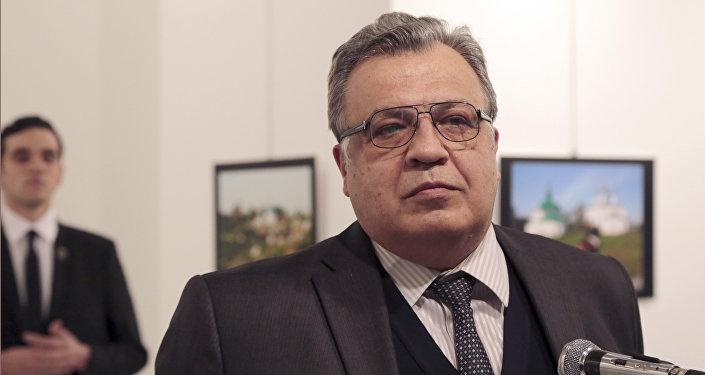 Посол РФ в Турции Андрей Карлов выступает на фотовыставке в Анкаре в понедельник, 19 декабря 2016 года, за несколько минут до того, как боевики открыли по нему огонь