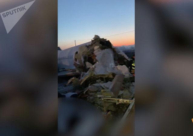 Самолет рухнул близ Алматы – видео с места ЧП