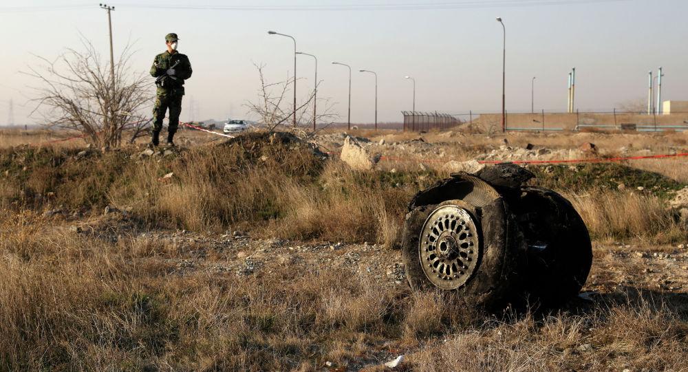 Полицейский на месте крушения украинского авиалайнера