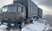 Сломанный КамАЗ на трассе в Павлодарской области