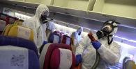 Дезинфекция салона самолет по предотвращению распространения коронавируса