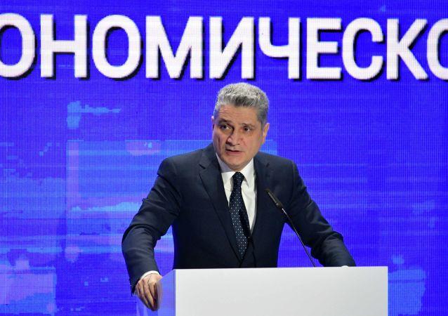 Председатель коллегии Евразийской экономической комиссии Тигран Саркисян выступает на пленарной сессии форума Цифровое будущее глобальной экономики