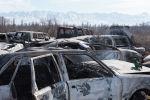 Кладбище разбитых машин в поселке Сортобе