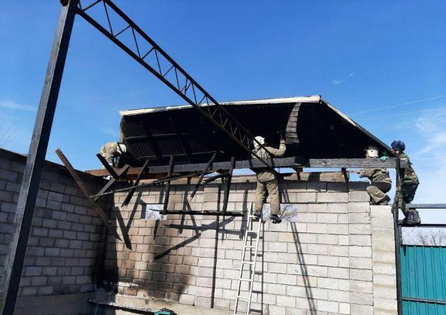 Работа пожарных в Кордае после беспорядков