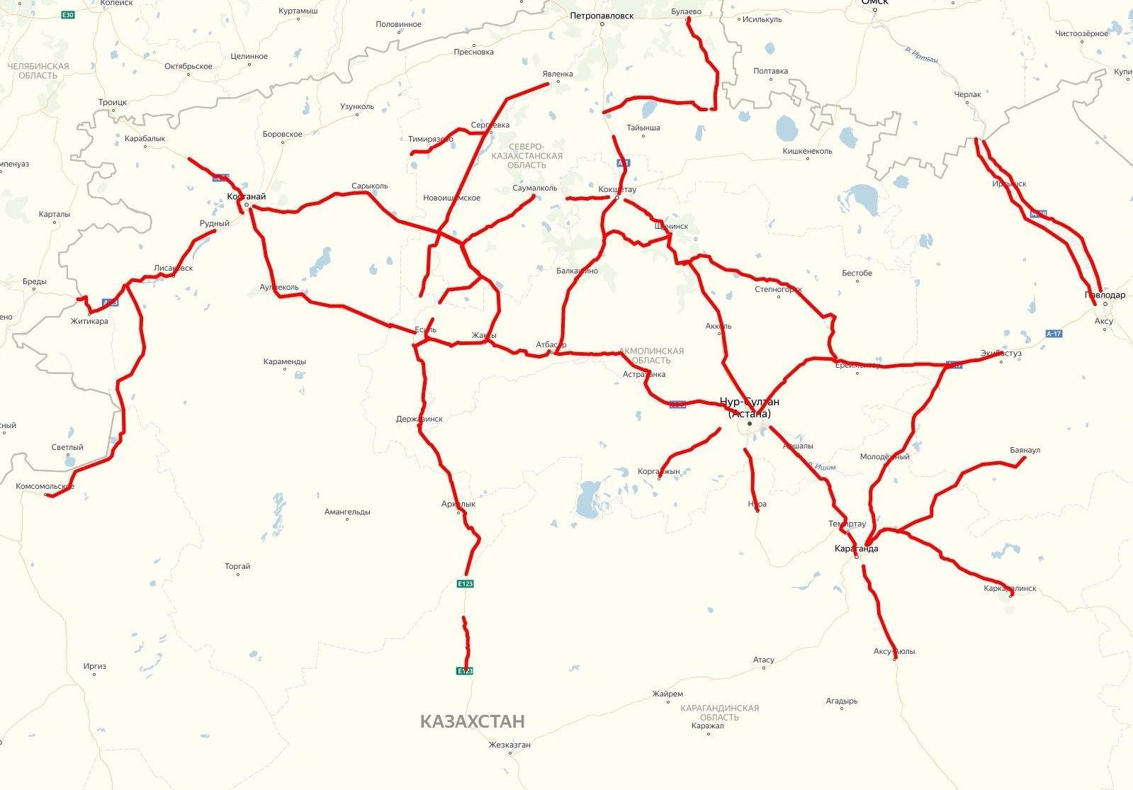 Карта ограничения дорожного движения по республике