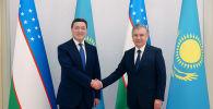 Сегодня в городе Ташкенте премьер-министр Аскар Мамин встретился с президентом Узбекистана Шавкатом Мирзиёевым