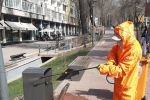 Санитарная обработка на улицах Алматы в связи с коронавирусом