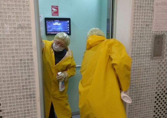 Санитарная обработка в лифтах жилых домов в Алматы