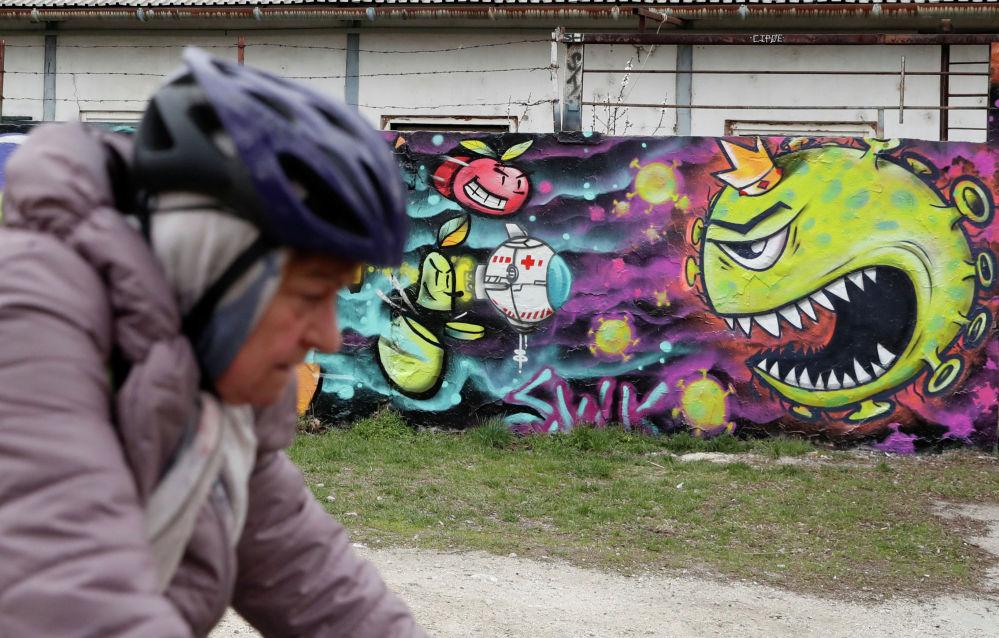 Граффити, посвященное коронавирусу