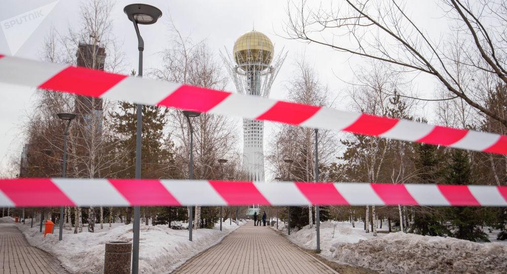 Символ столицы Казахстана - Байтерек оцеплен в Нур-Султане
