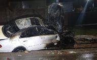 Машина опрокинулась в арык и загорелась в Наурызбайском районе