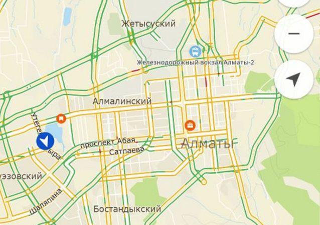 Скриншот страницы с пробками на дорогах Алматы сервиса 2GIS