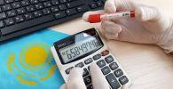 Пробирка с пробой на коронавирус, калькулятор и клавиатура