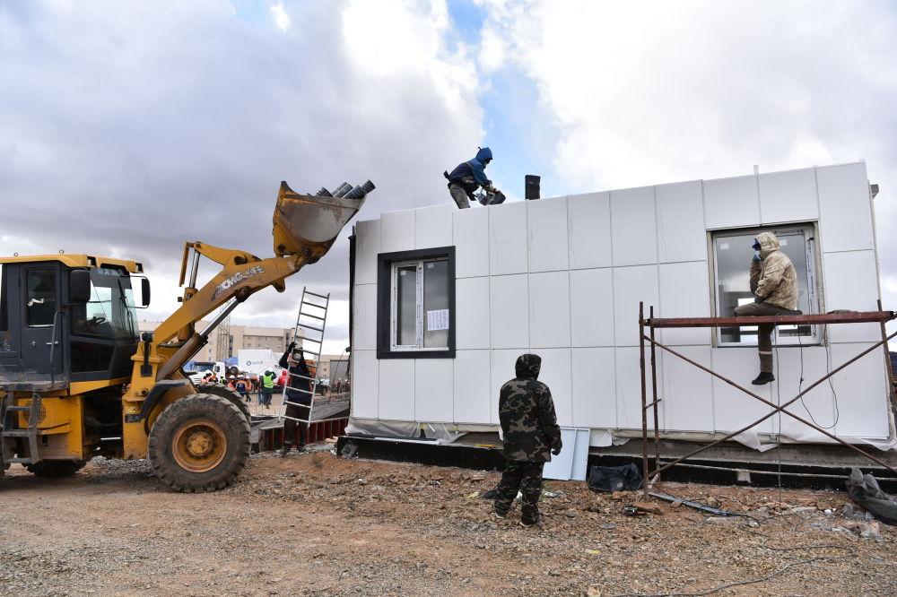 Строительство госпиталя для зараженных коронавирусом близ Нур-Султана