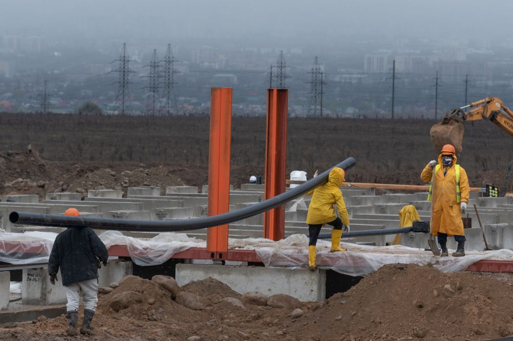 Строительство инфекционного госпиталя для лечения зараженных коронавирусом в Алматы