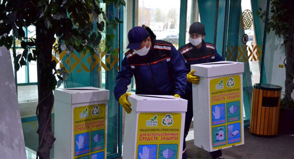 Сбор экобоксов с использованными перчаткам и масками
