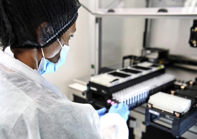 Сотрудница лаборатории проводит исследование образцов тестов на коронавирус