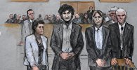 Джохар Царнаев, зарисовка из зала суда