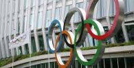 Олимпийские кольца у штаб-квартиры МОК в Лозанне