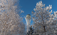 Виды Астаны зимой, монумент Байтерек