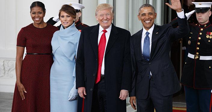 Бывший и избранный президенты США Барак Обама и Дональд Трамп