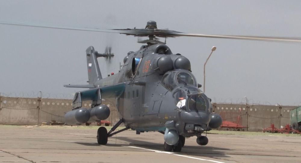 Четыре новых многофункциональных ударных вертолета Ми-35М поступили на авиационную базу
