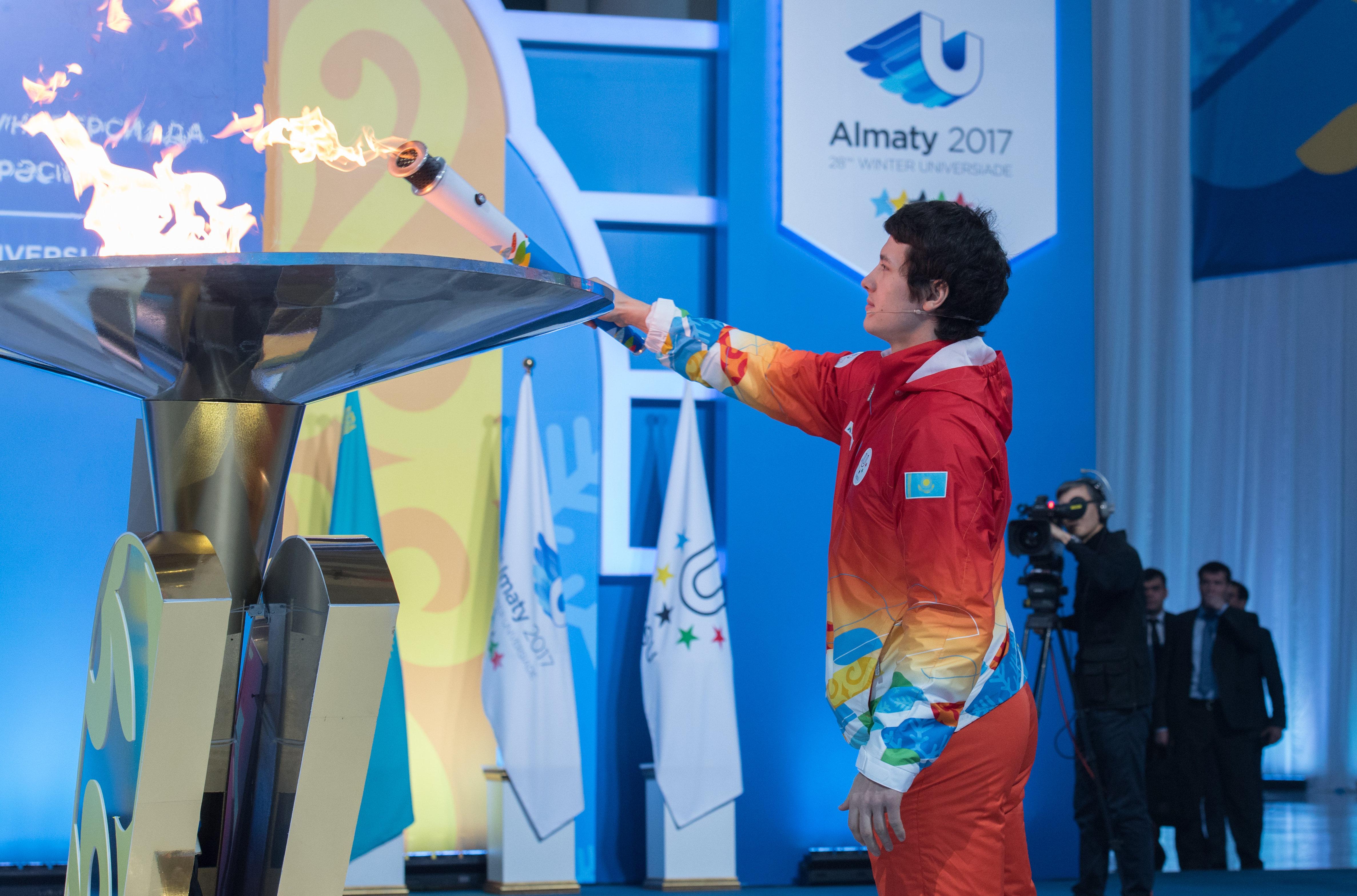 Зажжение факела Универсиады-2017 в Астане