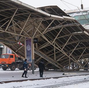 Астана вокзалында қалқаның құлауы