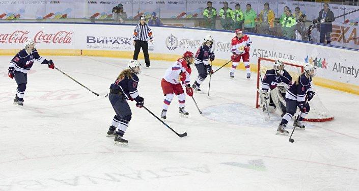 Матч между студенческими сборными России и США по хоккею на Универсиаде