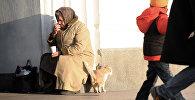 Бездомная кошка трется о ноги пожилой женщины, занимающейся попрошайничеством на улице