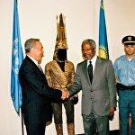 Архивное фото встречи Нурсултана Назарбаева и Кофи Аннана