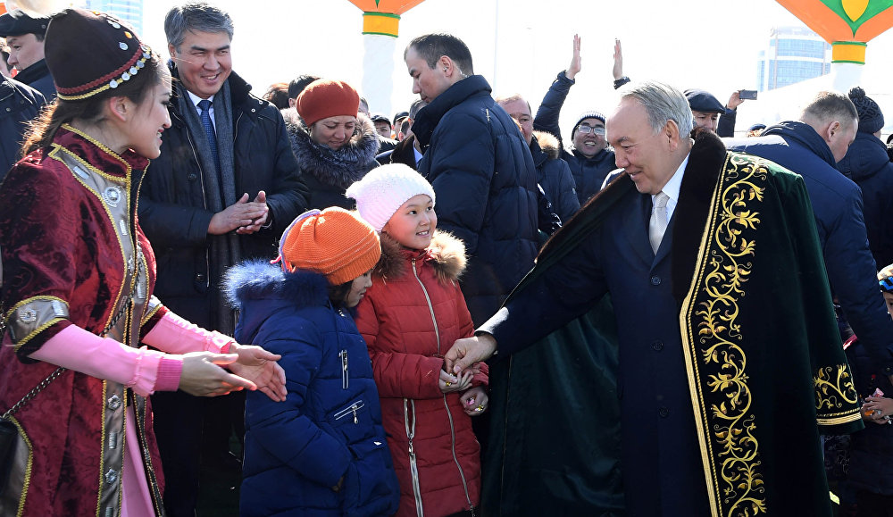 Нурсултан Назарбаев на праздновании Наурыза в Астане