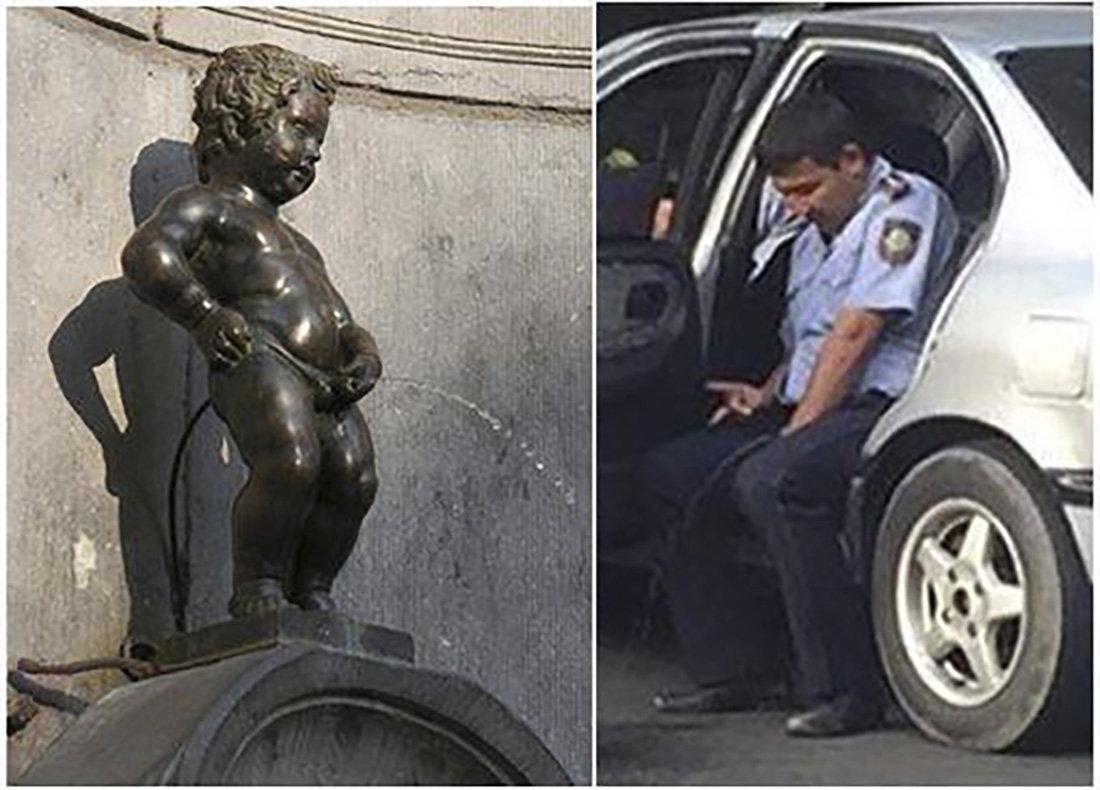 Интернет-пользователи распространяют в соцсетях и комментариях всевозможные мемы на тему писающего полицейского
