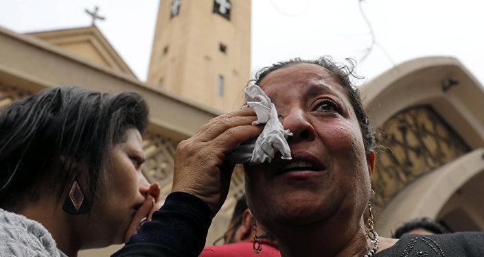 Кадры с места взрыва в церкви города Танта в Египте