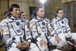 Космонавты Токтар Аубакиров, Александр Волков, Франц Фибек (слева направо)