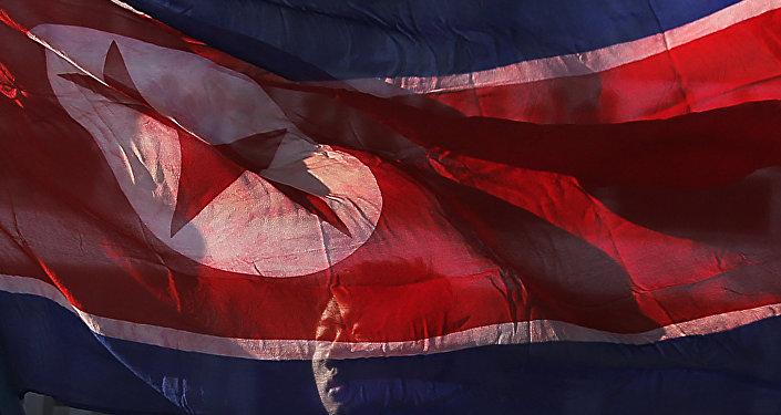 Архивное фото флага КНДР
