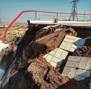 Смотровая площадка обрушилась на Сергеевском водохранилище в СКО