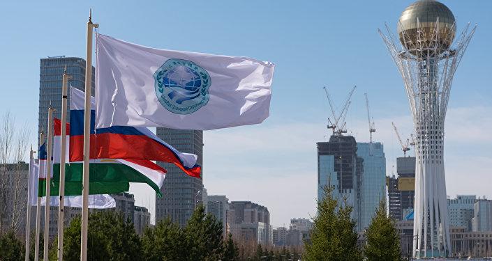 Архивное фото флагов стран-участниц ШОС
