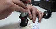 Сотрудник пограничной службы ставит штамп о пересечении границы. Архивное фото
