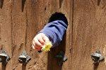 Рука ребенка в дверном отверстии