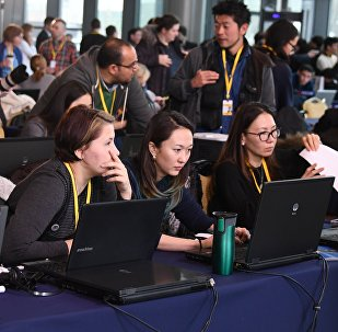 Казахстанские журналисты в пресс-центре