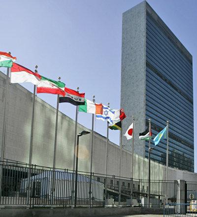 Флаги стран-участниц Организации Объединенных Наций у здания штаб-квартиры ООН в Нью-Йорке