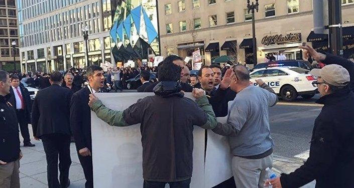 Драка охранников Эрдогана с протестующими
