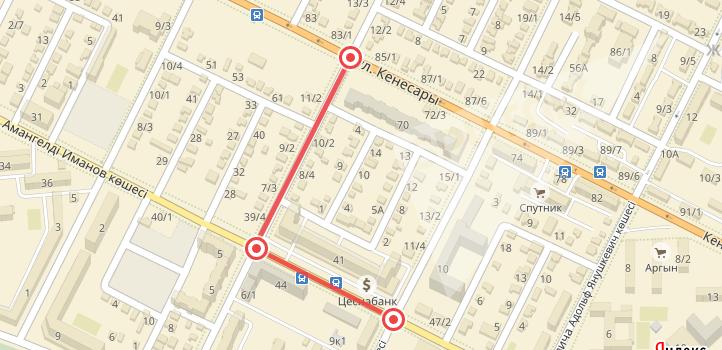 Карта перекрытия дорог в Астане 20-21 мая