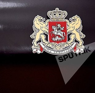 Эмблема в здании МИД Грузии
