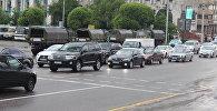 Транспортные пробки в районе площади Республики в Алматы