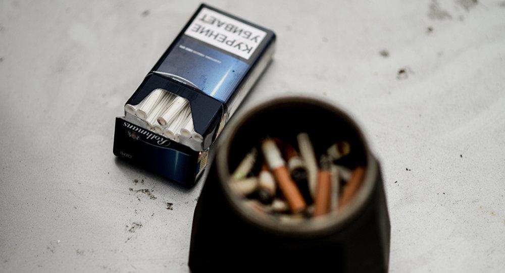 Пепельница и окурок