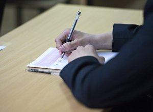 Архивное фото ученика перед началом тестирования