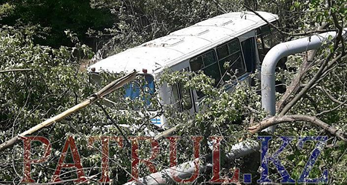 Пассажирский автобус вылетел с моста в горах Алматы