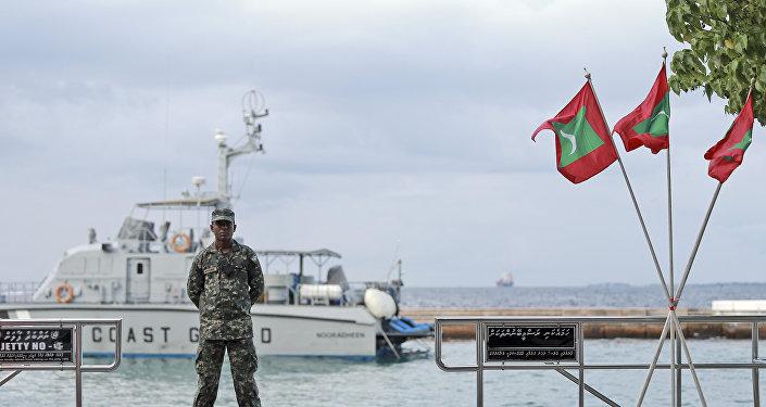 Военный стоит на причале рядом с флагом Мальдив, архивное фото
